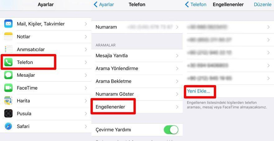 iPhone Özel Numara Engelleme
