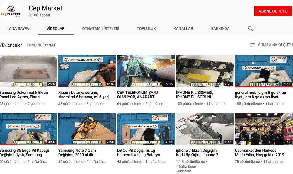 CepMarket YouTube Kanalı Telefon Onarımı